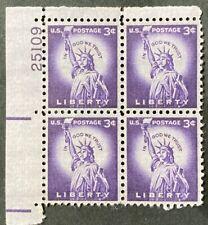 US # 1035 Plate Blocks 3c Statue of Liberty 1954 MNH