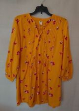 Women's Flowing Yellow Floral Old Navy Long Sleeve Dress Size Medium Petite