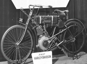 1903 1904 First Harley Davidson Motorcycle Ride Bike RARE Photo Reprint Pic
