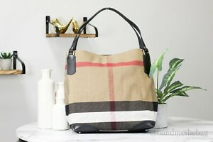 Burberry Canvas Check Medium Maidstone Black Soft Canvas Satchel Tote Hand Bag