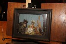 Antique Shadow Box Framed Creepy Spanish Dolls Fur Cloth 4x6