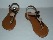 CLARKS ARTISAN TAN LEATHER STONES ANKLE STRAP THONG SANDALS WOMEN SZ 6 M *EUC*