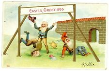 Easter Greetings- SILLY GNOMES PLAYING - Embossed Postcard Fantasy/Chick
