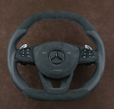 OEM Mercedes custom steering wheel Thick flat top & bottom Alcantara