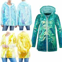 New Ladies Unicorn Holographic Zipped Neon Festival Mac Parka Raincoat Jacket