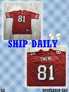 Vintage Reebok NFL San Francisco 49ers Terrell Owens Men Jersey #81 Red 2XL XXL