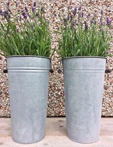 Set of 2 Vintage Style Tall Metal Zinc Planters Garden Flower Pots Tubs Vases