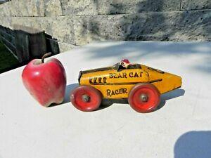 GIRARD MARX Tin Litho #8 Bear Cat Racer Wind Up Boat Tail Race Car  c 1920s