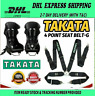 """TAKATA BLACK 4 Point Snap-On 3"""" With Camlock Racing Seat Belt Harness Universal"""