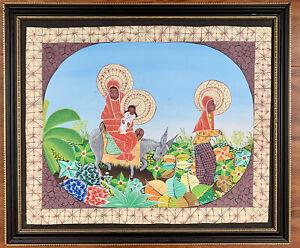 ORIGINAL PAINTING SAINCILUS ISMAEL HAITIAN Signed Framed Folk Art Artibonite