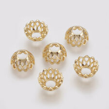 10PCS Brass Bead Caps Flower For DIY Jewelry Making More-Petal Real Gold Plated