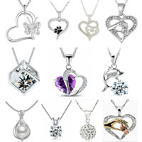 925 Silver Heart Cute Pendant Women Flower Charm Chain Necklace Jewelry Gift HS