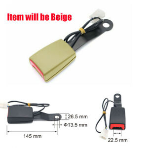 1PC Beige Car Seat Belt Lock Buckle Plug Connector Extender With Warning Cable