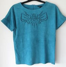 *BNWT* IKKS Turquoise Real Suede Goat Leather Cutout Detail Top S / 8 - 10 Small