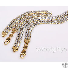 2-Tone 18k Yellow/White Gold Filled Hammered Curb Chain Necklace Bracelet Set