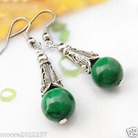 charming Green jade Tibetan silver Dangle earring