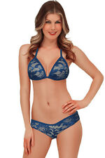 Exotic Lace Triangle Thong Bra Bikini Lingerie Sets Navy Blue