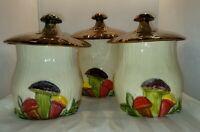 Vintage USA Pottery 3-D Mushroom Canisters Set Of 3