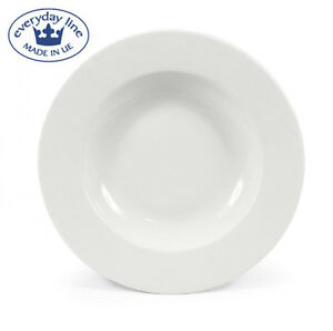 Set 6 FELIT white EUROPEAN porcelain round pasta soup dinner plates 22.5cm