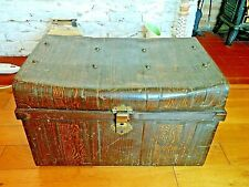Vintage Metal Travel Trunk Original Wood Effect Paintwork Coffee Table Toy Box