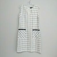 Karl Lagerfeld Paris Womens 6 Tweed Sleeveless Lined White Sheath Dress Pockets