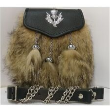Semi Dress Synthetic Wolf Fur Leather Sporran with Thistle Badge