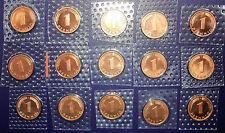 1 Pfennig 1997-1999 A-D-F-G-J komplett Stempelglanz 15 Münzen Auflage nur 70000