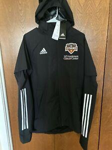 MLS Adidas AeroReady Houston Dynamo Soccer/ MD Anderson  Hooded Rain Jacket Med