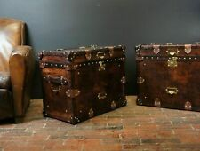 Antique Finest English Matching Pair of Leather Handmade Side Table Trunks