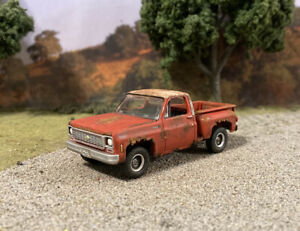 1973 Chevy C10 Truck Rusty Weathered Custom 1/64 Diecast Barn Find Rust Pickup