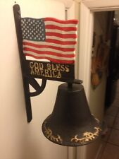 Large Cast Iron Dinner Bell Heavy Duty double sided God bless america USA flag
