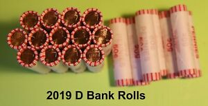 2019 D LINCOLN CENT Bank Roll 50 Coins