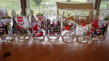 Coke Christmas Glasses McCrory Stores 1980's set of 7 various designs