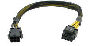 AYA 13 inch 6-Pin Express (Male) to EPS ATX 12V 8-Pin (4+4Pin Detachable) Cable
