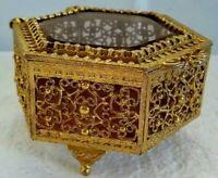 Vnt Matson French Brass Gold Ormolu Filigree Beveled Glass Jewelry Box Hexagon