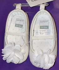 Carter's® Flower Glitter Mary Jane White Shoes 9-12 months NWT