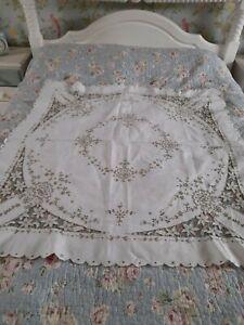 """Linen Cutwork Tablecloth 49"""" x 47"""""""