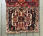 """Antique wool hand knotted tribal bag. Complete 19"""" x 38"""" horse motif."""