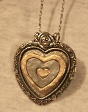Lovely Rose Topped Silvertone Distressed 2-Tone Heart Pendant Necklace Brooch