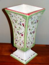 Laura Ashley Chintz Vase Floral Country Cottage Pedestal (pinks, green, blue)