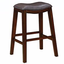Backless Burnished Cappuccino Bar Stool with Brown Seat by Coaster - Set of 2