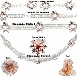 Rose Gold Xmas Hanging Ceiling Wall Decoration Foil Garland Bell Ball SnowFlake