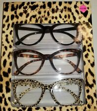 +2.00 Authentic BETSEY JOHNSON 3 PAIR SET READING GLASSES READERS Cat Eye SEXY!