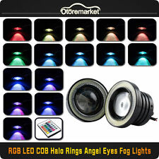 3.5'' Car Head Lamp Projector LED Fog Light RGB COB Halo Angel Eye Ring +Remote