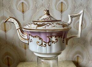 H R Daniels Old English Tea Pot early 1800s, pottery  rose pink gold Antique AF