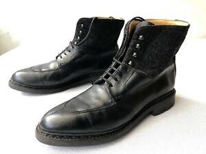 Heschung Ginkgo  Black Calf/Black Canvas Split-Toe Boots EU6 - US8.5