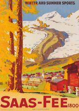 Vintage Ski Posters SAAS-FEE, Swiss, 1928, Art Deco A3 Travel Print