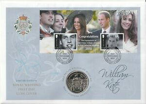 IOM 26 NOVEMBER 2010 ROYAL ENGAGEMENT M/SHEET COIN FIRST DAY COVER