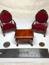 1:12 Town Square Miniature Furniture Mahogany Victorian Chair Table Velvet #S