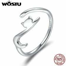 Wostu cute Cat Adjustable band ring 925 sterling silver jewelry present for girl